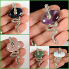 """62mm Rock gemstone snake pendant focal bead You choose quantity and stones 2.44"""""""