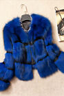 100% New Genuine Fox Fur Jacket Leather Outwear Coat Garment Vintage Winter