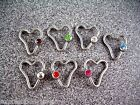 "1Pc to 4PC 14g 1/2"" Heart Captive Ear Nipple Bead Ring CZ Pink Clear Green Blue"