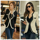 Women girl long Sleeve Slim Suit Coat Blazer Jacket Button White Black Colors