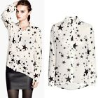 Fashion  Autumn blouse shirts Pentagram print Tops Chiffon  Blouse Shirts