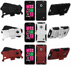 For Nokia Lumia 521 HYBRID KICKSTAND Rubber Silicone Case Phone Cover Accessory