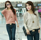 1PC Lady's Fall Knitted Sweater Batwing Sleeve Hollow Knitwear Pullover Sweater
