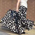 New Full Circle Chiffon Skirt Polka Dot Chiffon Skirt Long Skirt S~3XL