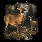 Whitetail Deer Buck and Doe in Forest Long sleeve T-Shirt Tee S-3XL Hunting
