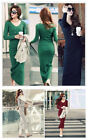 HOT Sexy Women's Fall Winter Long Sleeve Warm Wool V-Neck Maxi Long Dresses Tops