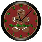 GINGERBREAD MAN WALL CLOCK RED GREEN PERSONALIZED CHRISTMAS HOLIDAY DECOR