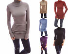 PattyBoutik Comfy Cotton Blend Polo Neck Long Sleeve Knit Tunic Top Jumper
