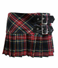 HELL BUNNY CHELSY TARTAN kilt MINI SKIRT punk BLACK MULTI