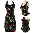 BLACK Cherry Print Vintage Party Prom Dress Housewife Pinup dress Women Workwear