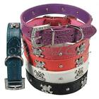 Adjustable Pet Dog Collar Cool Skull Rhinestone Crystal Buckle Leather XS/S/M/L