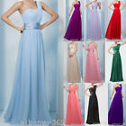 One Shoulder Bridesmaid Gown Formal Prom Dress Cocktail Party Chiffon Size 6-26