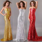 Sexy Sequins Long Mermaid Evening Ball Gowns Red Carpet Formal Cocktail Dresses