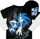 Sonic The Hedgehog Long Sleeve T-shirt w Beanie Size 8 10-12 Large 14 New Tee