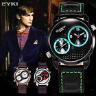 EYKI 2 Colors Overfly Dual Time GMT Japan Movement Leather Mens Wrist Watch
