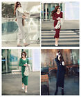 HOT Sexy Women's Winter Long Sleeve Warm Wool V-Neck Bodycon Long Dress Maxi