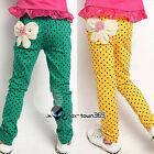 Autumn Child Princess Kids Toddlers Girl Dot Hips Bow Knot Pants Trousers 3-11Y