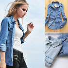 Classic Vintage Long Sleeve Jean Denim Womens Jacket Shirt Tops Blouse Fashion O