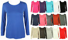 WOMENS NEW CLASSIC LONG SLEEVE T-SHIRT LADIES CASUAL STRETCH PLAIN TOP SIZE 8-14