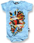 SIX BUNNIES FAMILY FOREVER TATTOO FLASH BLUE BABY GROW VEST ONE PIECE ROMPER