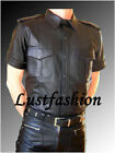 leather shirt new  black leather uniform gay Police shirt, compl. LEATHER LINING