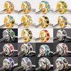Silver/Gold Tone Crystal Rhinestone Sun Flower European Wheel Charm Bead Spacers