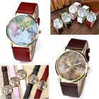 Golden Case The Earth & World Map Pattern Leather Band Quartz Wrist Watch Gift