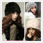New Fashion Real Rabbit Fur Knitted Hat Cap Women Winter Warm Spring Xmas