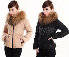 Women's Goose Down Jacket Short Coat Thicken Belted Faux Fur Collar Winter Warm