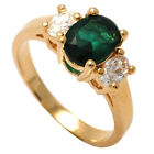 Brand New18ct Gold Filled Oval Green Emerald and Black Onyx Engagement Ring