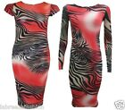 NEW WOMENS LADIES LONG CAP SLEEVE MULTI ZEBRA TIGER PRINT BODYCON MIDI DRESS