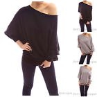 Comfy On/One Shoulder Wool Blend Bat Wing Sleeve Sweater Top