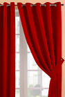 Red Faux Suede Eyelet / Ring Top Heavy Weight Soft Touch Ready Made Curtains