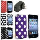 Dot Rubberized Hard Snap-On Case+Black Travel Charger Adapter For iPod Touch 4
