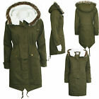 WOMENS LADIES FAUX FUR HOODED QUILTED PARKA JACKET PADDED WARM WINTER ZIP COAT