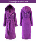 Personalised Hooded Towelling Bathrobe / Dressing Gown - Purple with Spiral Cord