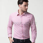 Luxury Mens Casual Slim Fit Stylish Long Sleeve Check Dress Shirt 6Colors 4Size