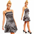 BALLKLEID GRAU SEXY PARTY KLEID COCKTAILKLEID BANDEAU Empire S M L 34 36 38 A421