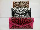 Ladies Patent Leopard Print Clutch Purses with Different Compartments