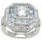 Sterling Silver Round and Baguette Art Deco Cubic Zirconia Anniversary-style Rin