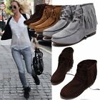 Women Classic Fringe Lace UP Flats Round Toe Shoes Tassels Casual Ankle Boots