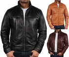 Mens Leather Biker jacket Zipped Collar Biker Jacket  Bomber Jacket Coat BNWT