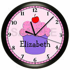 CUPCAKE WALL CLOCK SHOP BAKERY RESTAURANT PERSONALIZED GIRL BEDROOM DECOR PINK