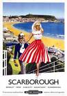 Scarborough Spa and Castle, Yorkshire. Vintage BR Travel poster art print. 1959