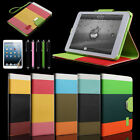Hybrid PU Leather Wallet Flip Pouch Stand Case Cover For iPad Mini+Stylus+Film
