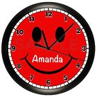 SMILEY FACE WALL CLOCK PERSONALIZED RED CHILDREN'S BEDROOM DECOR YELLOW SMILE