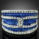 Ladies Sapphire Stripe Cocktail Party Ring White Gold GP Austrian Clear Crystal