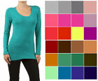 Bozzolo WHIMSY Long Sleeve Basic Layering TEE T SHIRT SCOOP Neck STRETCH