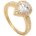 New 18ct Gold Filled Ladies / Women Pear Shaped Cubic Zirconia Engagement Ring.
