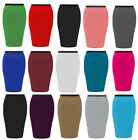 NEW LADIES PENCIL PLAIN WORK OFFICE WOMENS STRETCH BODYCON MINI MIDI SKIRT 8-26